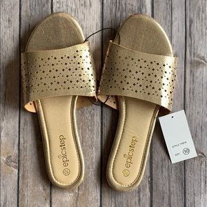 NWT Gold Mules size 9
